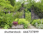 English Cottage Garden With...