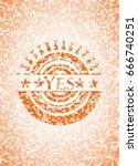 yes orange mosaic emblem | Shutterstock .eps vector #666740251