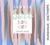 sale banner. freehand brush... | Shutterstock .eps vector #666744895