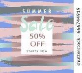 sale banner. freehand brush... | Shutterstock .eps vector #666744919