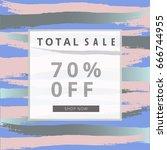 sale banner. freehand brush... | Shutterstock .eps vector #666744955