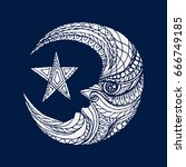 moon illustration vector icon. | Shutterstock .eps vector #666749185