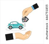 dealership agent giving car key ... | Shutterstock . vector #666751855