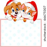 Stock vector christmas cat and dog holding sign add your own message 66675307