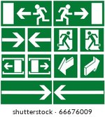 pack of green evacuation symbols | Shutterstock .eps vector #66676009