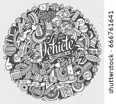 cartoon cute doodles hand drawn ... | Shutterstock .eps vector #666761641