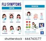 flu symptoms and influenza.... | Shutterstock .eps vector #666763177