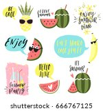 summer lettering set with cute... | Shutterstock .eps vector #666767125