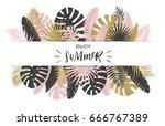summer banner with paper... | Shutterstock .eps vector #666767389