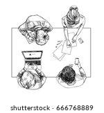 hand drawn vector illustration. ... | Shutterstock .eps vector #666768889