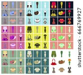 assembly flat icons clothes | Shutterstock .eps vector #666769927