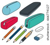 vector set of pencil case | Shutterstock .eps vector #666774127