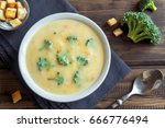 vegetable and cheese cream soup ... | Shutterstock . vector #666776494