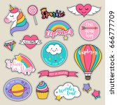 Stock vector set of fashion patches cute colorful badges fun cartoon icons design vector 666777709