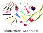 children's art set of pencils... | Shutterstock . vector #666778741