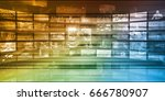 multimedia entertainment with... | Shutterstock . vector #666780907