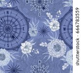 seamless pattern with vintage... | Shutterstock .eps vector #666783559