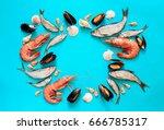 Sea Food Composition  Flat Lay...