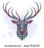 Patterned Head Of The Deer On...