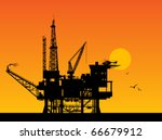 oil rig in sea and sunrise ... | Shutterstock .eps vector #66679912