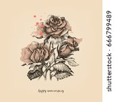 roses vintage card  watercolor... | Shutterstock .eps vector #666799489