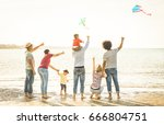 happy families group with... | Shutterstock . vector #666804751