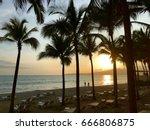 palm tree sunset   puerto... | Shutterstock . vector #666806875