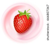 realistic strawberry on... | Shutterstock .eps vector #666807367