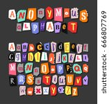 colorful newspaper alphabet.... | Shutterstock .eps vector #666807769