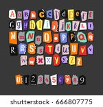colorful newspaper alphabet.... | Shutterstock .eps vector #666807775