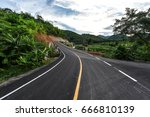 Curve Way Of Asphalt Road...