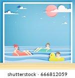 family floating on the beach... | Shutterstock .eps vector #666812059