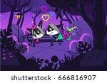 love raccoons  romantic couple... | Shutterstock .eps vector #666816907