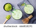 matcha green tea ice latte with ... | Shutterstock . vector #666818191