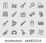 musical instrument line icon    Shutterstock .eps vector #666823114
