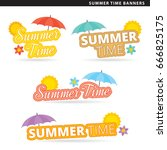 set of summer time banners in... | Shutterstock .eps vector #666825175