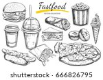 fastfood dishes with drinks .... | Shutterstock .eps vector #666826795