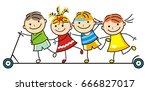 children on a scooter. vector... | Shutterstock .eps vector #666827017