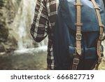 unrecognizable man traveler... | Shutterstock . vector #666827719