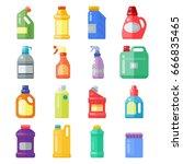 bottles of household chemicals... | Shutterstock .eps vector #666835465