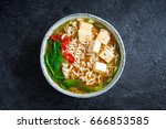 japanese ramen soup with tofu... | Shutterstock . vector #666853585
