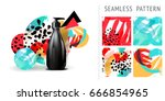 a set of summer seamless unique ... | Shutterstock .eps vector #666854965