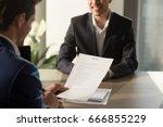 friendly employer conducting... | Shutterstock . vector #666855229