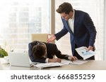 bad angry boss yelling at male... | Shutterstock . vector #666855259