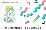 a set of summer seamless unique ...   Shutterstock .eps vector #666855391