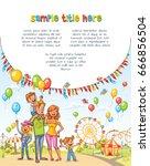 happy family in the amusement... | Shutterstock .eps vector #666856504