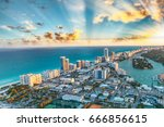 miami beach buildings and... | Shutterstock . vector #666856615