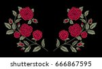 embroidery. red roses. fashion... | Shutterstock .eps vector #666867595