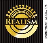 realism gold emblem or badge | Shutterstock .eps vector #666867775