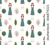 cute girl in forest seamless... | Shutterstock .eps vector #666875221